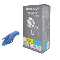 Перчатки нитриловые S размер одноразовые, текстур на пальцах. Benovy.Цвет-голубой. 200 штук/100 пар.